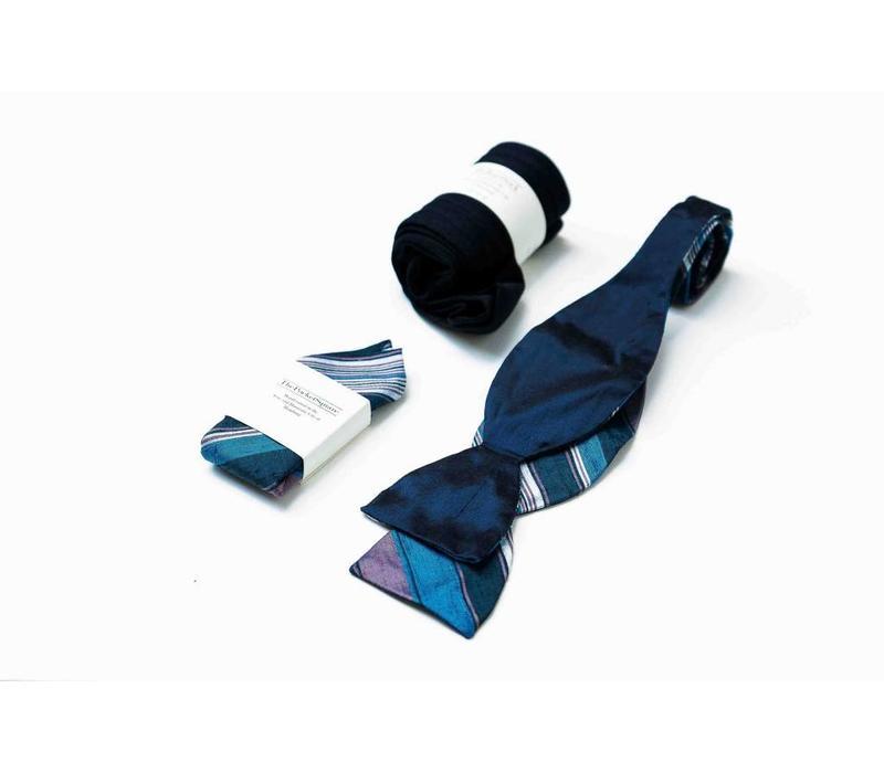 Accessoire-Set - Einstecktuch, Fliege, Socke - Marineblau/Bordeauxrot
