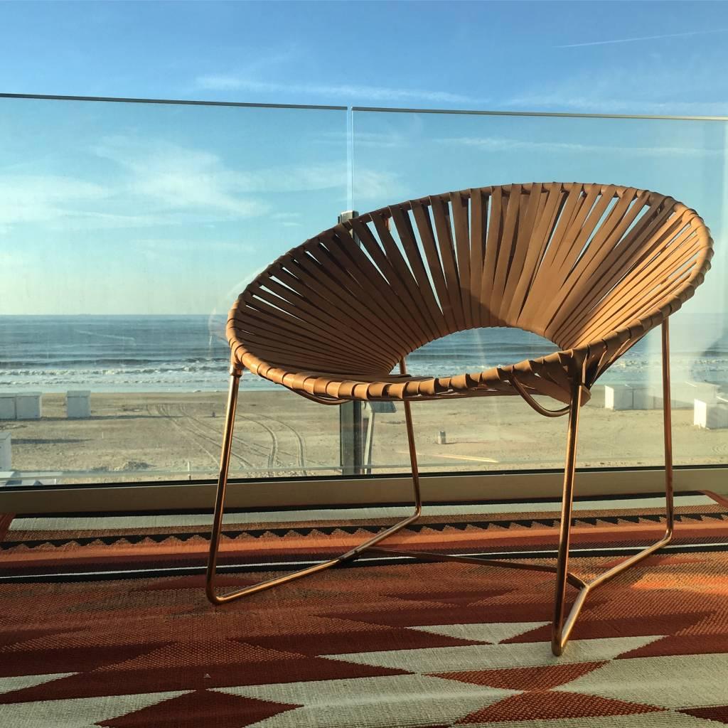Lederen lounge stoel koper