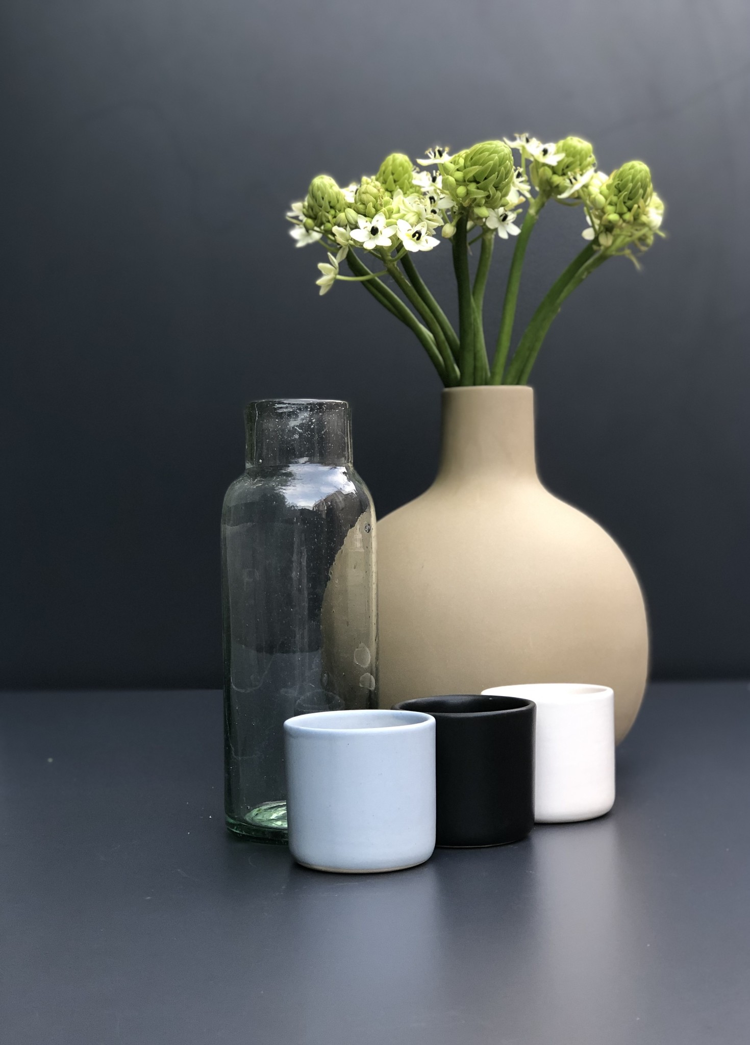 Glass carafe white cup