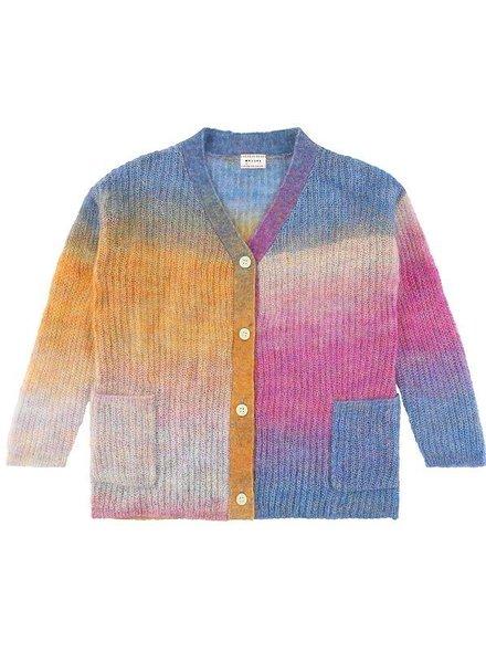 cardigan girls - Ivory Rainbow Pink