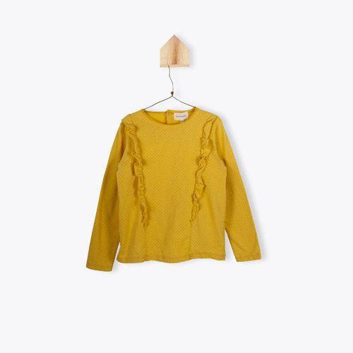 t-shirt pois à volants - safran