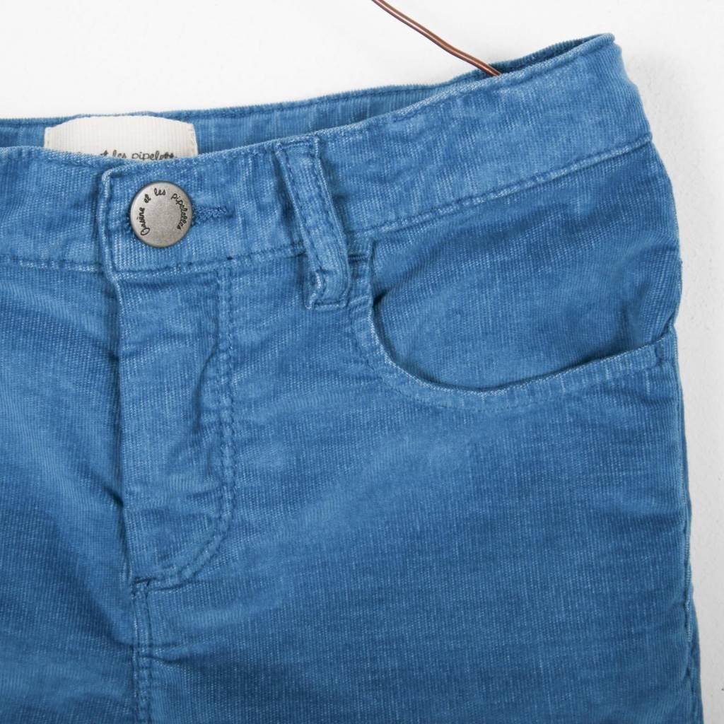 pantalon Velours Fin - bleu nuit
