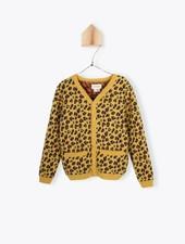 cardigan jacquard Taches Leopard - safran