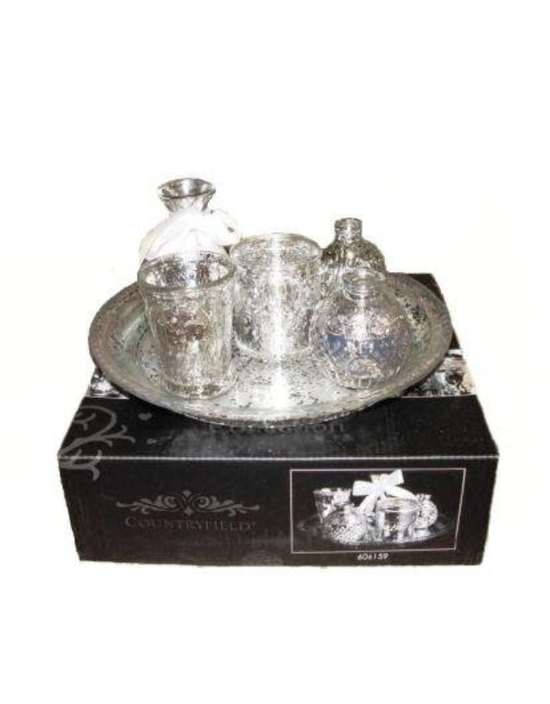 Plateau with Antique Look Silver Vases - Set of 6 pieces