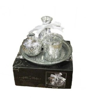 Plateau with Antique Look Silver Vases - Set 4-pieces