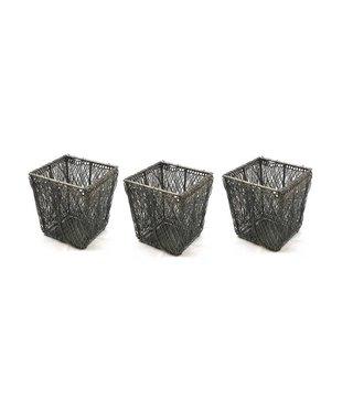 Waxinelichthouder Draadmetaal Vierkant - Set van 3 stuks