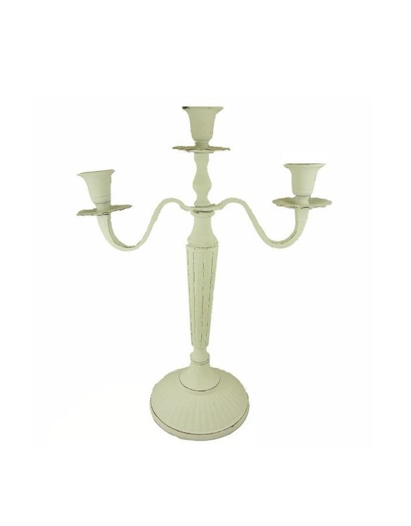 Candlestick 3-arms whitewash, height 38 cm