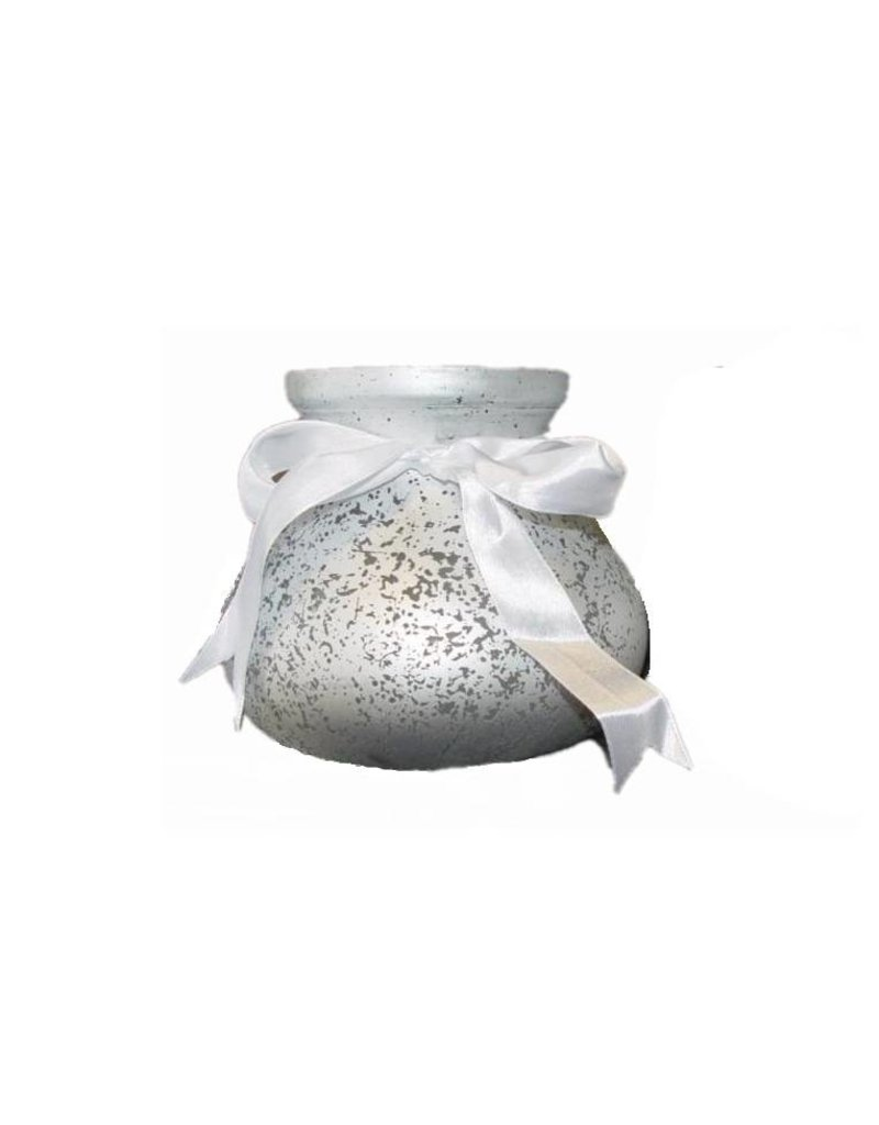 Windlight Silver with Bow - Height 13 cm