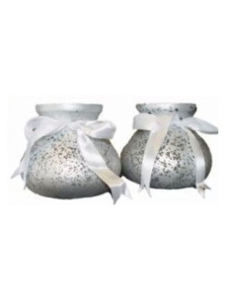 Windlicht Zilver met Strik - Hoogte 13 cm