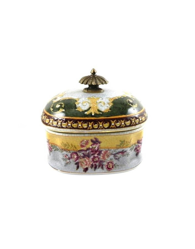 Classic Porcelain Box with Brass Knob