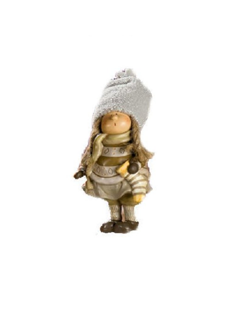 Ceramic Sculpture Child Lapland with Christmas stocking