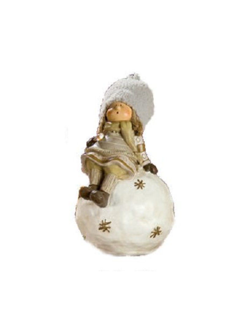 Ceramics Sculpture Child Lapland on Globe with Sugar Stick