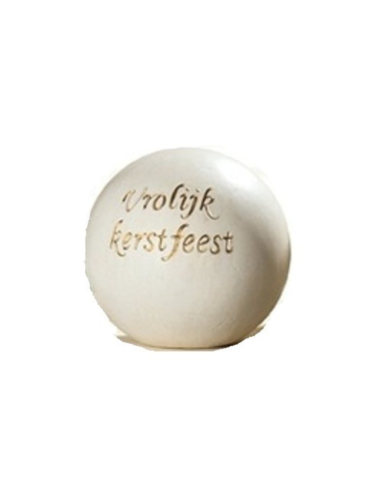 White Ceramic Sphere Merry Christmas