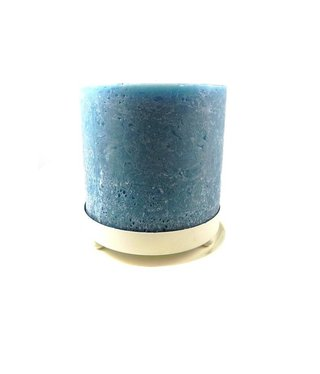 Blauwe Kaars in Metalen Onderzetter