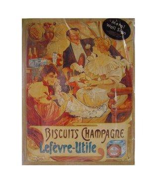Nostalgische Metalen Wandbord Biscuits Champagne