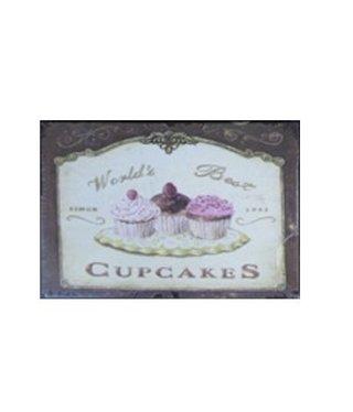 Nostalgische Metalen Wandbord Cupcakes