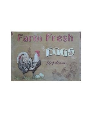 Nostalgische Metalen Wandbord Farm Fresh Eggs