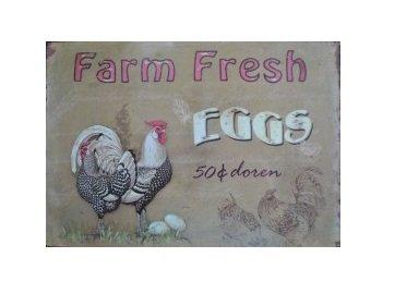 Nostalgische Metalen Wandbord Farm Fresh Eggs