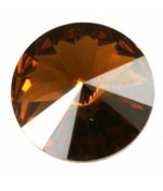 1122 Swarovski Rivoli Pointed Back SS47 - Smoked Topaz