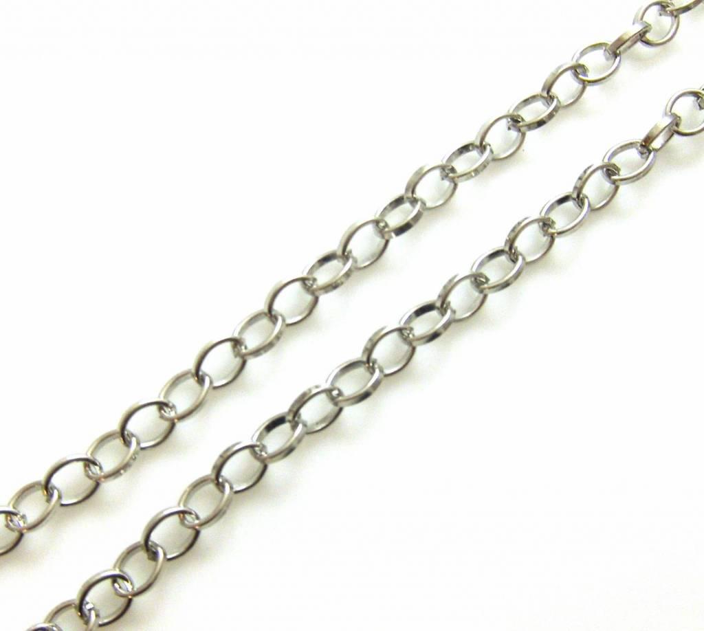 Ketting Ring Ovaal - Zilverkleur