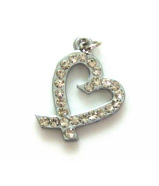 Charm Open Heart Large with Rhinestones