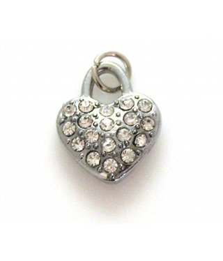 Charm Heart with Rhinestones