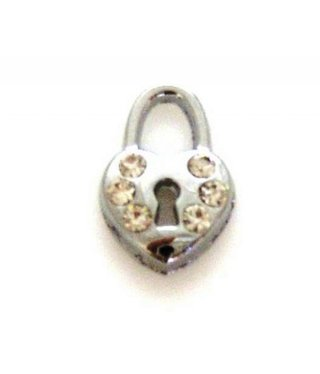Charm Heart Rhinestones with Key Hole