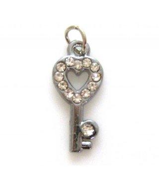 Charm Heart Key with Rhinestones