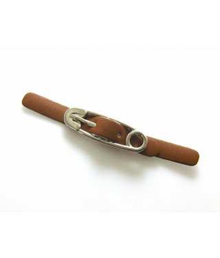 Imitation Leather Buckle Closure - Brown