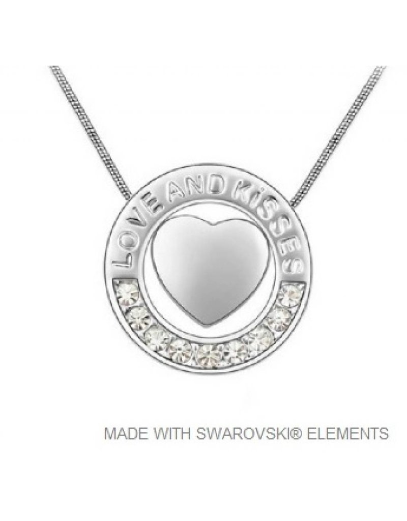 Circle Heart Pendant with Swarovski Elements and Necklace