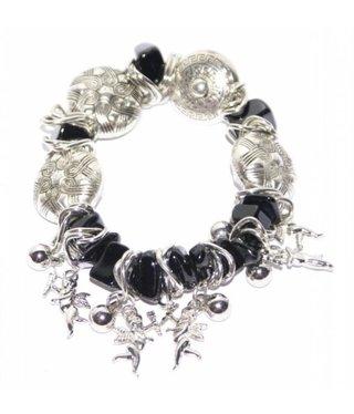 Armband met zwart en zilver kralen