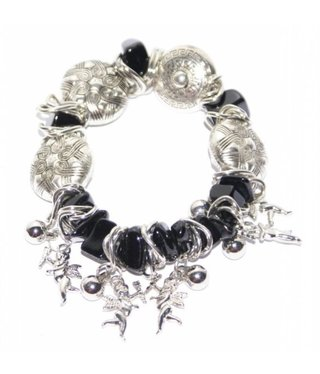 Bracelet with black and silver beads