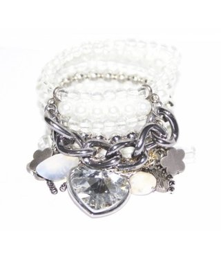 Wide bracelet with white silver pearls beads and silver gold copper chain