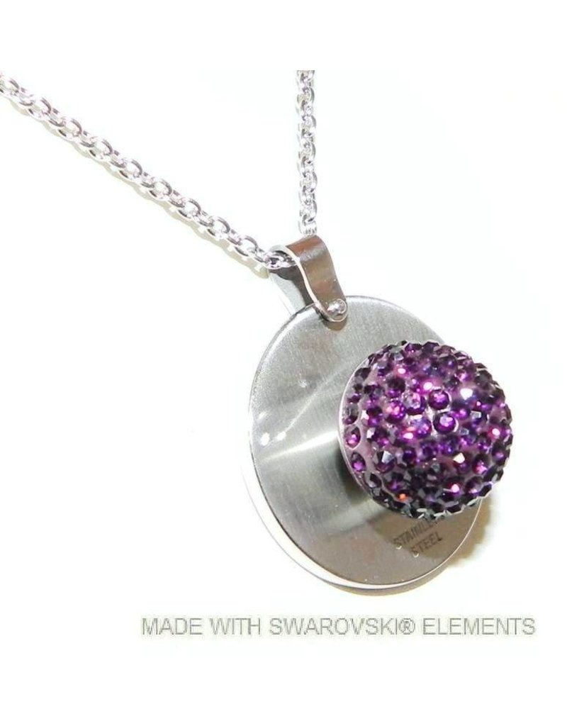 Stainless Steel necklace and pendant with removable Swarovski stone