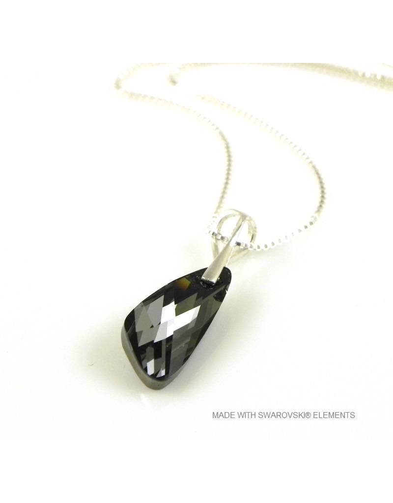 "Bijou Gio Design™ Zilveren Ketting met Swarovski Elements Wing ""Silver Night"""