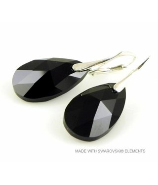 "Bijou Gio Design™ Zilveren Oorringen met Swarovski Elements Pear-Shaped ""Jet"""