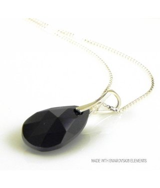 "Bijou Gio Design™ Zilveren Ketting met Swarovski Elements Pear-Shaped ""Jet"""