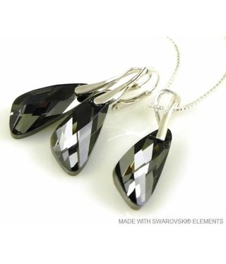 "Bijou Gio Design™ Set 925 met Swarovski Elements Wing ""Silver Night"""