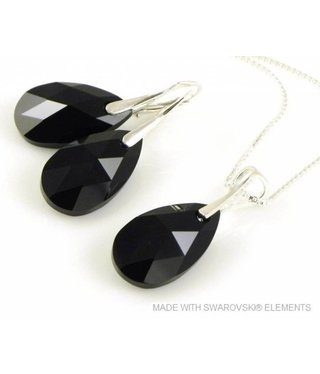 """Bijou Gio Design™ Set Silver Earrings and Necklace with Swarovski Elements Pear-Shaped """"Jet"""""""