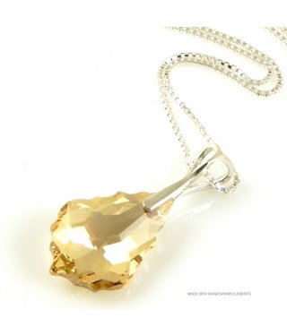 "Bijou Gio Design™ Zilveren Ketting met Swarovski Elements Baroque ""Golden Shadow"""