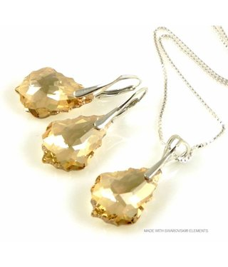 "Bijou Gio Design™ Set Silver Earrings and Necklace with Swarovski Elements Baroque ""Golden Shadow"""