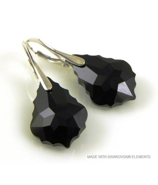 "Bijou Gio Design™ Silver Earrings with Swarovski Elements Baroque ""Jet"""