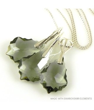 "Bijou Gio Design™ Set Silver Earrings and Necklace with Swarovski Elements Baroque ""Black Diamond"""