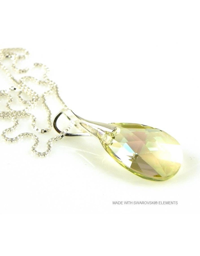 "Bijou Gio Design™ Silver Necklace with Swarovski Elements Pear-Shaped ""Luminous Green"""