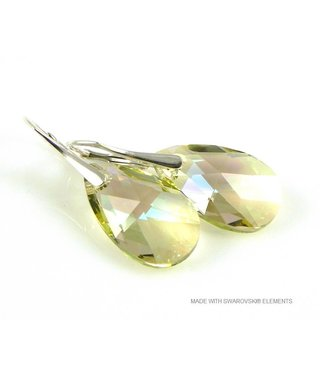 "Bijou Gio Design™ Zilveren Oorringen met Swarovski Elements Pear-Shaped ""Luminous Green"""