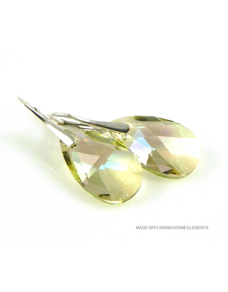 "Bijou Gio Design™ Silver Earrings with Swarovski Elements Pear-Shaped ""Luminous Green"""