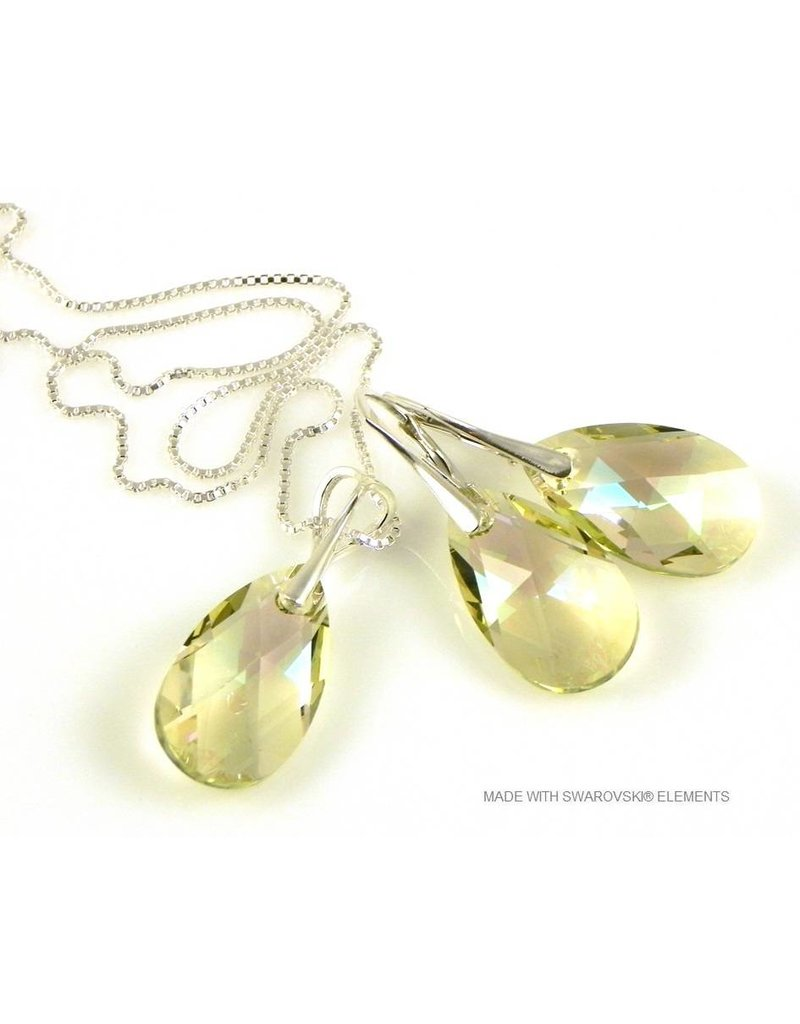 "Bijou Gio Design™ Set Zilveren Oorringen en Ketting met Swarovski Elements Pear-Shaped ""Luminous Green"""