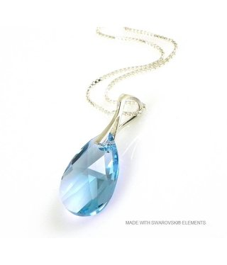 "Bijou Gio Design™ Silver Necklace with Swarovski Elements Pear-Shaped ""Aquamarine"""