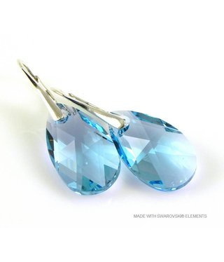 "Bijou Gio Design™ Silver Earrings with Swarovski Elements Pear-Shaped ""Aquamarine"""