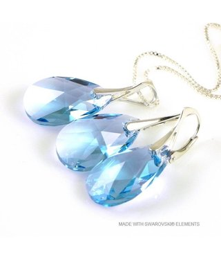 """Bijou Gio Design™ Set Silver Earrings and Necklace with Swarovski Elements Pear-Shaped """"Aquamarine"""""""